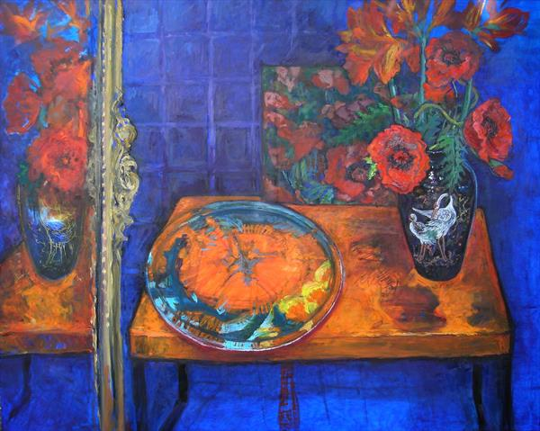Poppies in a black Chinese vase sitting on an orange table by Patricia Clements
