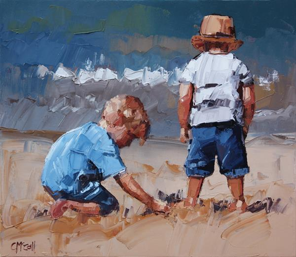 Sand Play Petite V - Limited Edition Giclee Art Print  by Claire McCall
