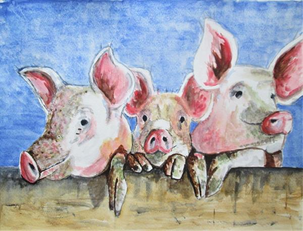 Three Little Pigs watercolour by marjansart by Marjan's Art
