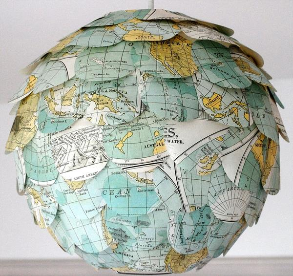 World Map Lampshade by Stephanie Wheeler
