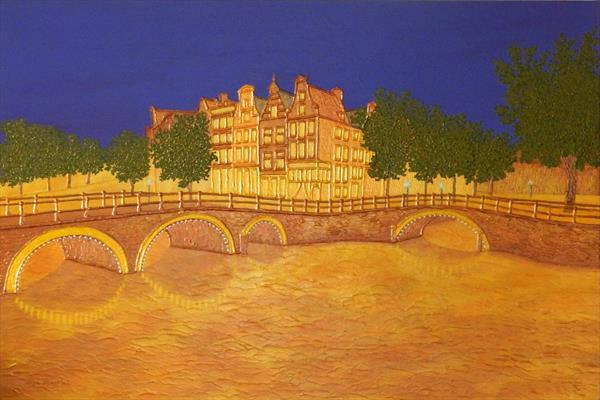 Golden Evening - amsterdam cityscape, architecture and canal by Liza Wheeler