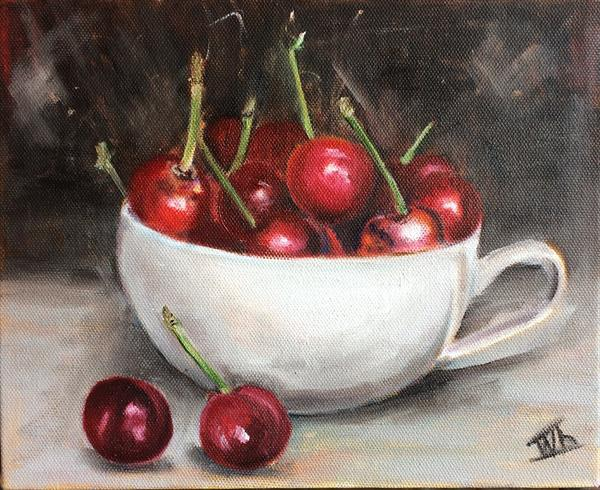 Red ripe cherries. Still life