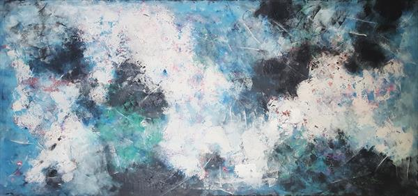 71''x 33''(180x85cm), The beauty of tomorrow 5 , colorful canvas art - ocean sky sea - xxxl art  by Veronica Vilsan