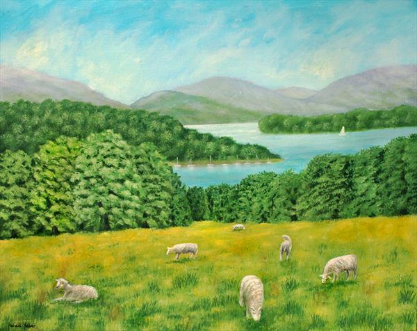 Sheep Grazing By Lake Windermere by Ronald Haber
