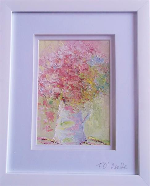 Pink Flower in White Jug by Therese O'Keeffe