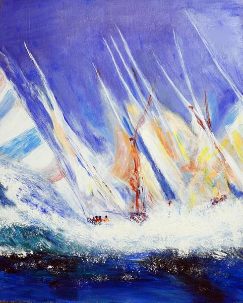 Sailing Boats Painting by Helen Smith
