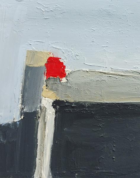 RED ONE ABSTRACT LANDSCAPE. Original Acrylic Abstract Landscape Painting. Varnished. by Tim Taylor