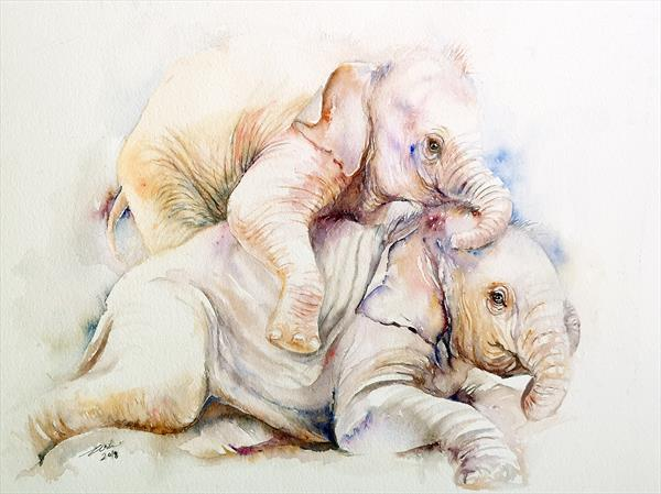 Playful Baby Elephants by Arti Chauhan