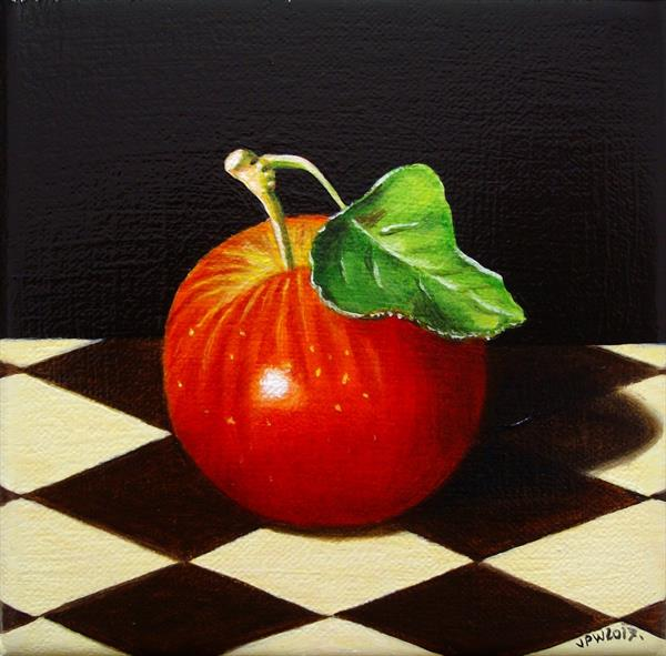 Still life with Red apple on checkboard by Jean-pierre Walter