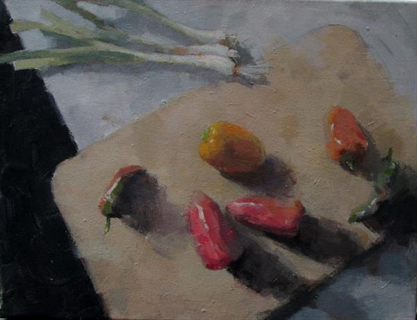 Still Life with Peppers and Onions by Derek Corlett