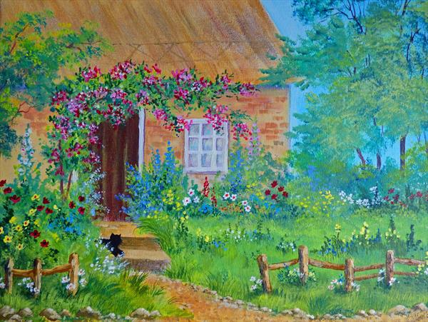 Victorian Cottage Garden. Large acrylic painting on box canvas by Pamela J West by Pamela West