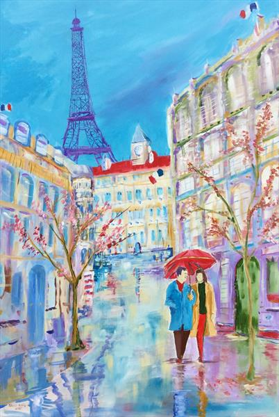 Blossoms in the Rain: A Parisienne Spring ( large canvas ) by David King