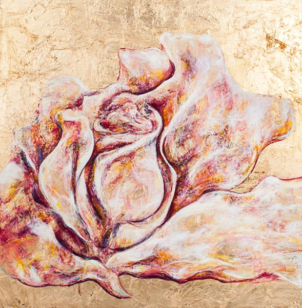White Rose on Gold by Jean Jones