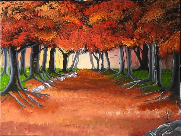 The Autumn forest by John Morris