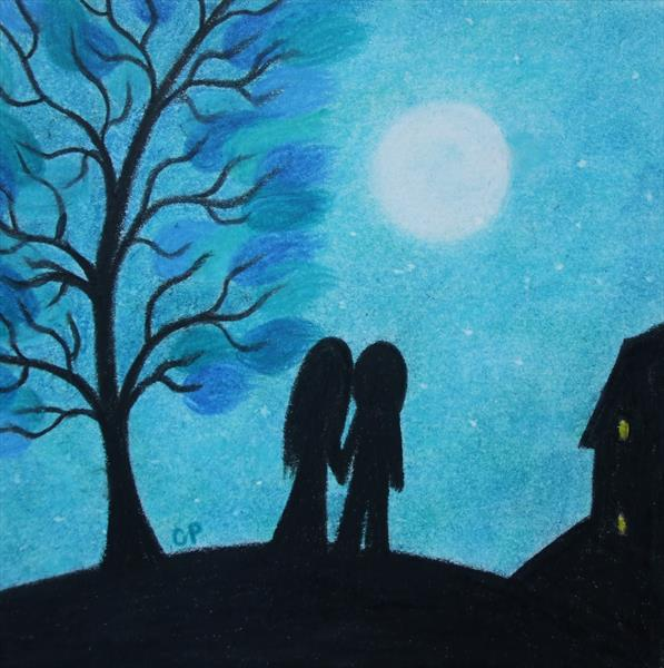 Couple and Moon (Framed) by Claudine Peronne