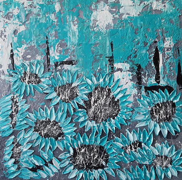 TURQUOISE SEA SUNFLOWERS II - Commission for D.F. Leo by Cinzia Mancini