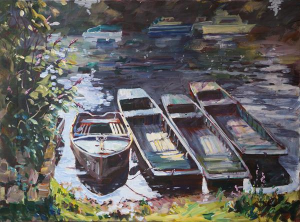 Thameside Boats at Sunbury. by Wendy Clouse   / Balkwill
