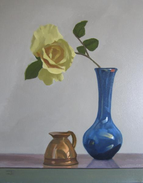 Bronze and Blue With Yellow Rose