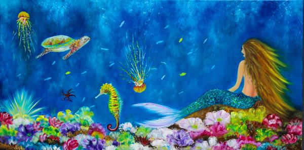 Mermaid painting, underwater world  by Florentina(anca)  popescu