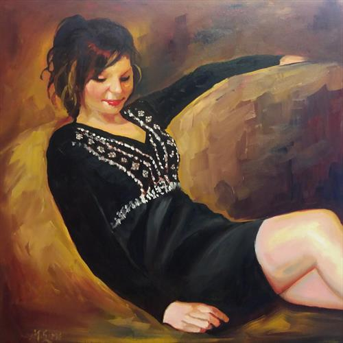 Silent Contemplation - A Figurative Oil Painting by Marjory Sime by Marjory Sime