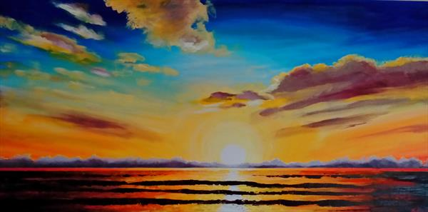Sunset over sea by Gwyn Bevan