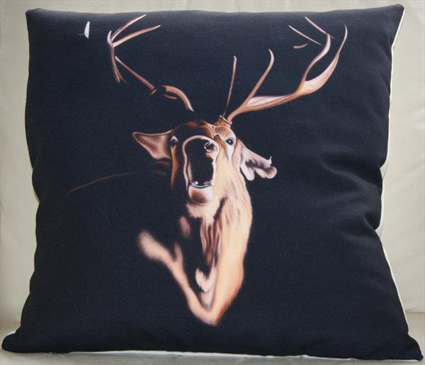 'Roaring Stag ' fine art cushion. by Steven Shaw