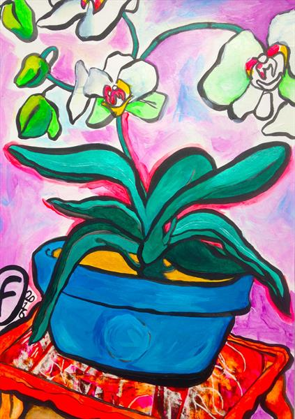 Orchid in a Blue Pot by K H Fagerholm