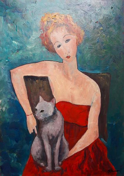 Woman with cat by Teresa Tanner