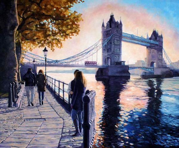 Romantic Stroll, Tower Bridge London by Andrew Schofield