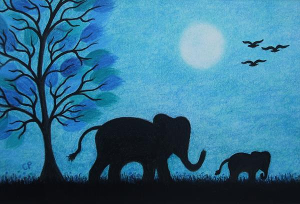 Elephants Silhouettes (Framed) by Claudine Peronne