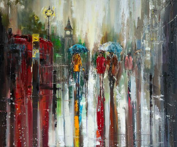 LOVE AFFAIR IN LONDON (2017) LARGE OIL PICTURE READY TO HANG