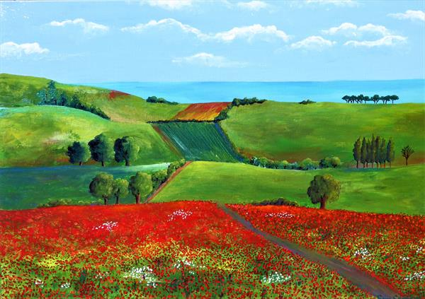 Hills and Poppies by Sara Spencer