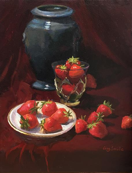 Still Life with Strawberry  (framed) by Ling Strube
