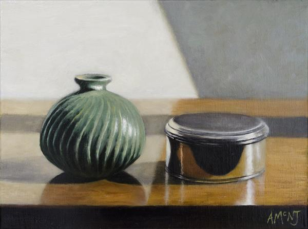 Small Green Vase and Silver Pot