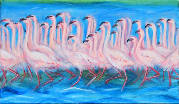 Flamingoes Dancing by Jacqueline Talbot