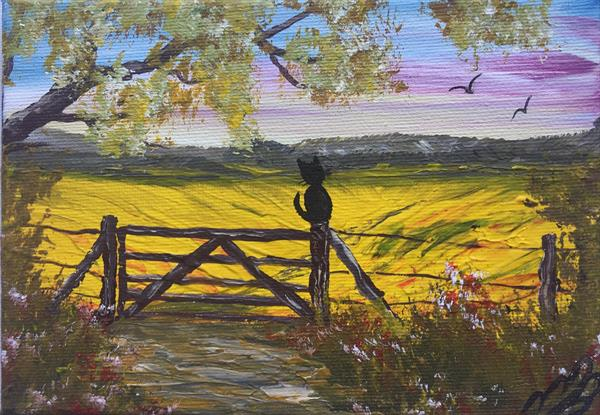 Black Cat on a gate on a mini canvas by Marja Brown