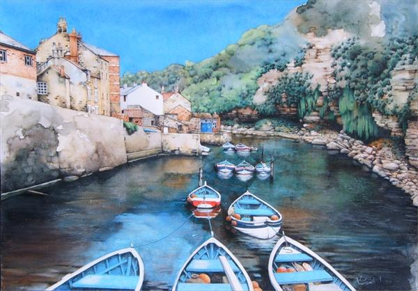Staithes Beck, High Tide by Helen Lush
