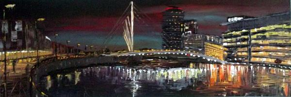 Salford Quays Swing Bridge No1 by Night by Andrew Alan Matthews
