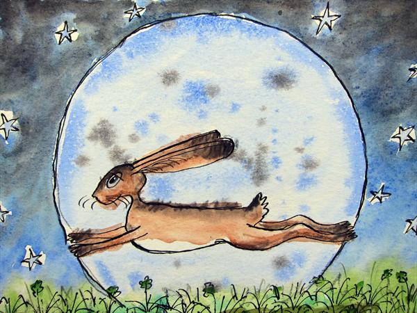 Hare in the moon by Michael Joseph