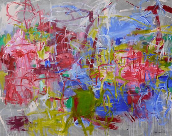 A Walk in the Park | extra large abstract Landscape Painting | 160 x 200 cm | pink green white blue  by Daniela Schweinsberg
