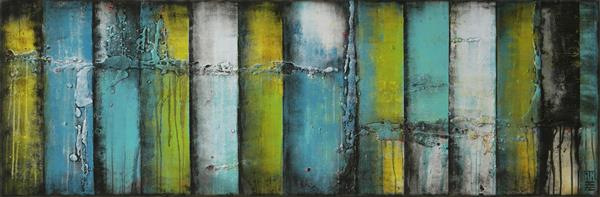 PANELS YELLOW - TURQUOISE - K07 by Ronald Hunter