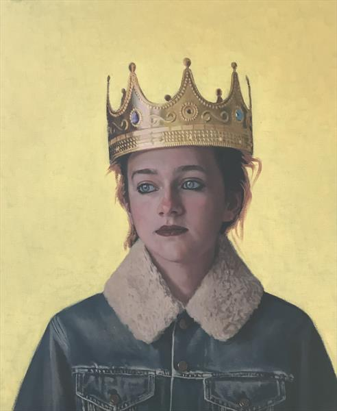 Girl in the plastic crown ( original oil )