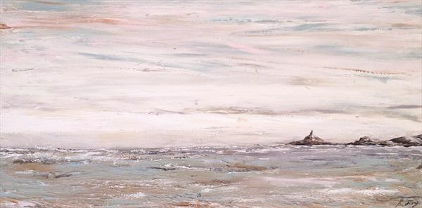 'stormy Seas' Looking Out To Mumbles Lighthouse by Rebecca Jory