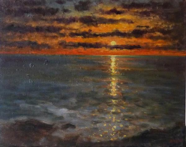 Sunset on the Ocean by David Moore