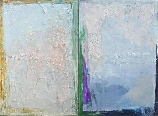 Oil painting, canvas art, stretched, diptych