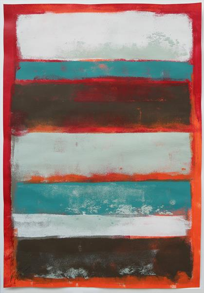 Stacked Red - Art on Paper - 16F by Ronald Hunter