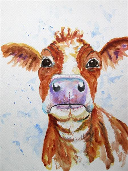 Cow, This Brown Cow, Farm Animal by Marjan's Art