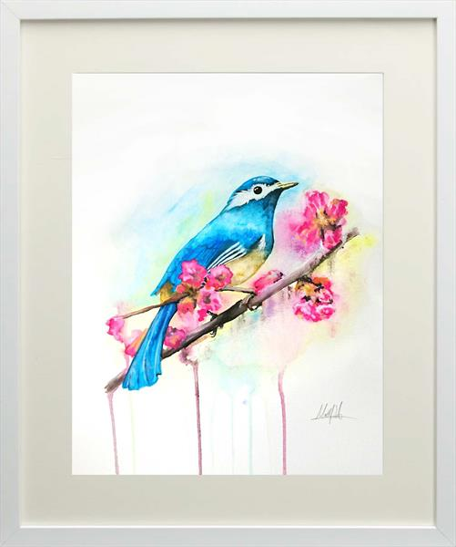 Bird on Branch Watercolour Painting with Frame & Mount by Matt Dale