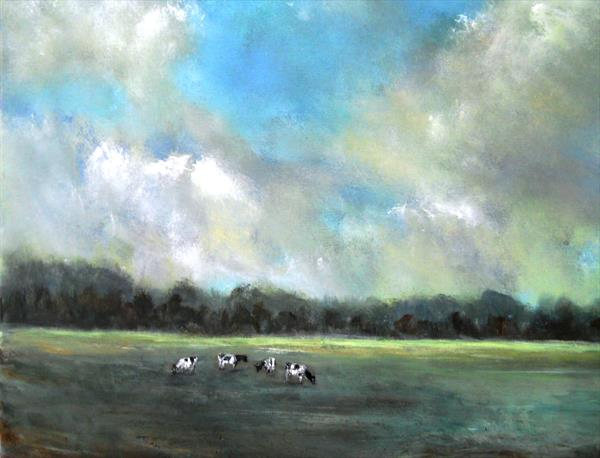 Landscape on canvas Impressionist painting ' England's Green And Pleasant Land 24
