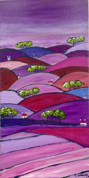 A VIEW OVER THE HILLS - WIDE EDGED CANVAS by Caroline Duncan
